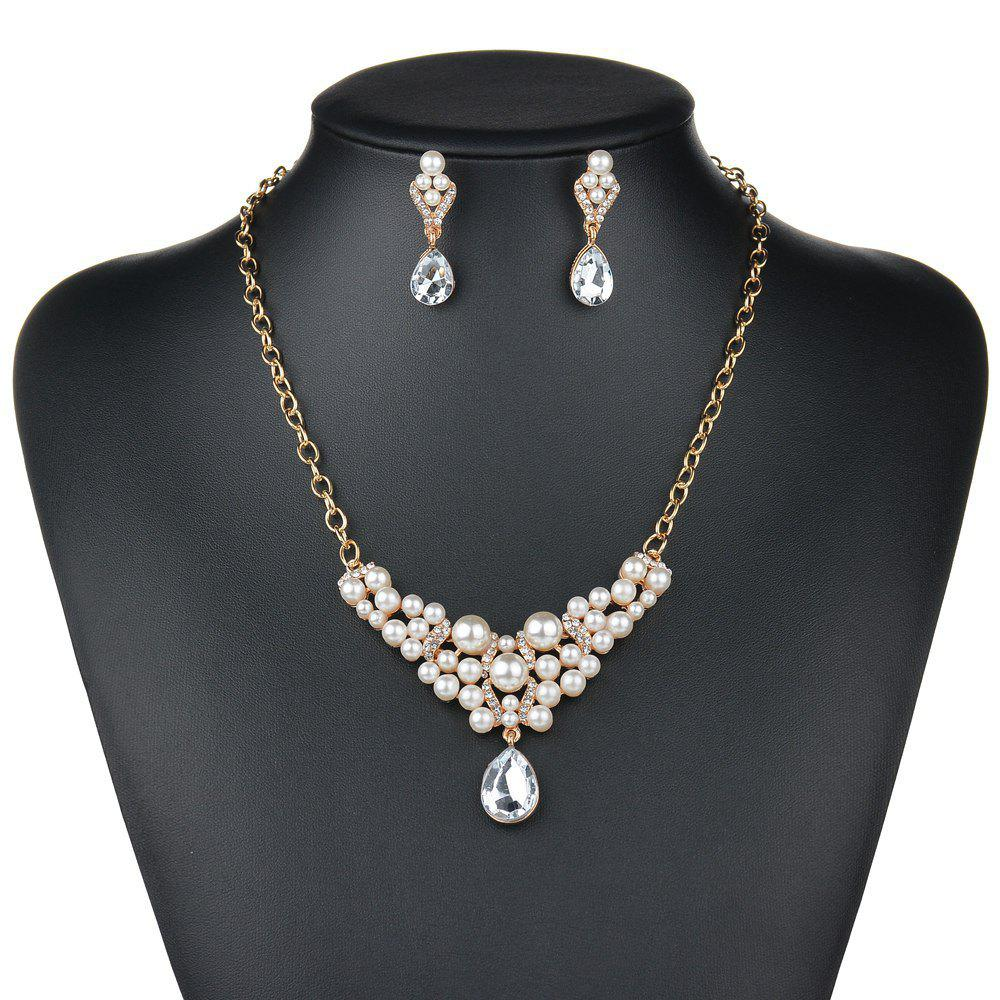 Unique Fashion Exaggerated Luxury Drop Pendant Necklace Earrings Jewelry Set