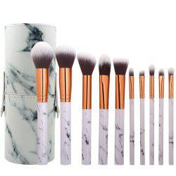 10 Marbled Makeup Brush Set with Brush Tube -