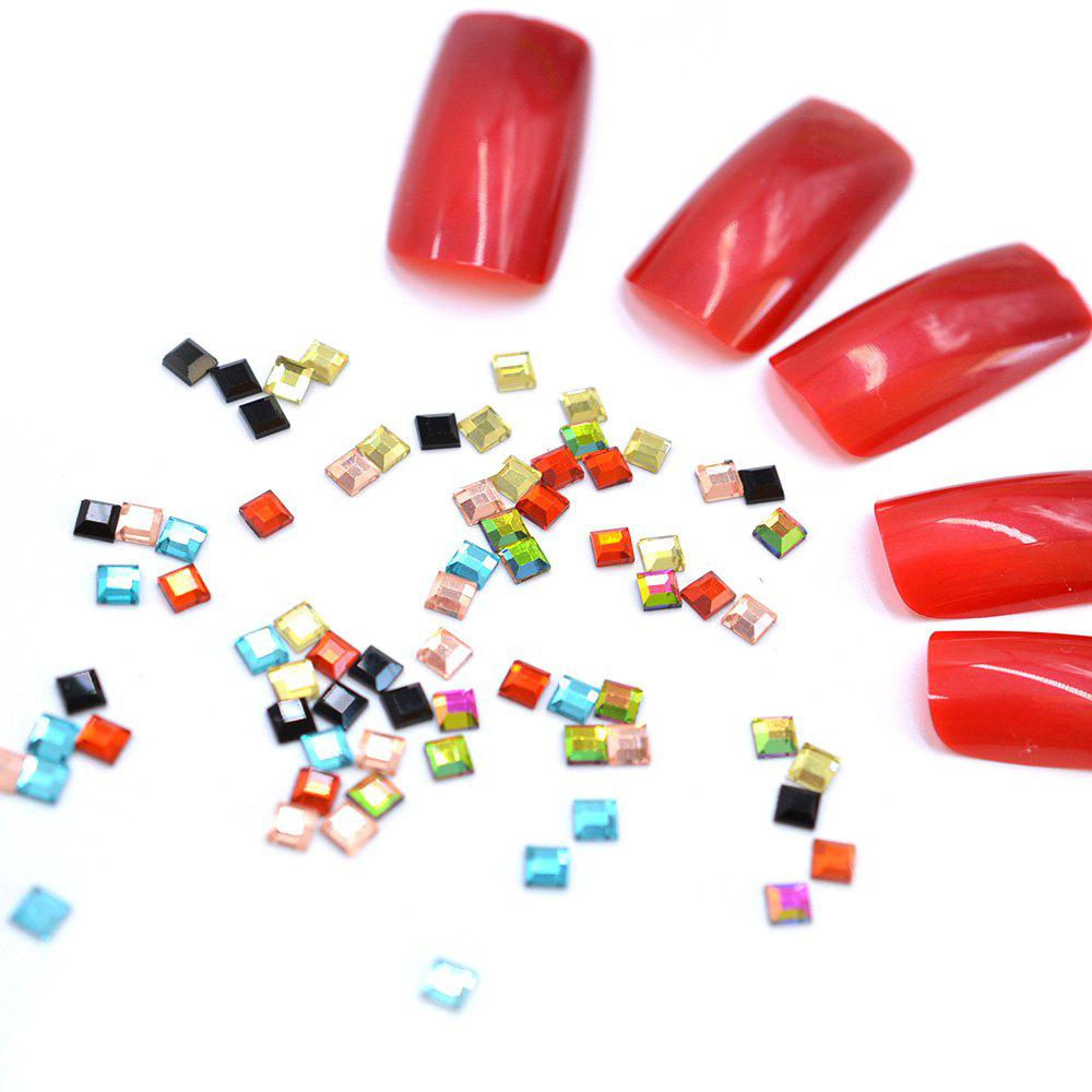 Sale 1 Pack Glass 3D Gems Square Flat-back Mix Color  Rainbow Nail Rhinestones BR105