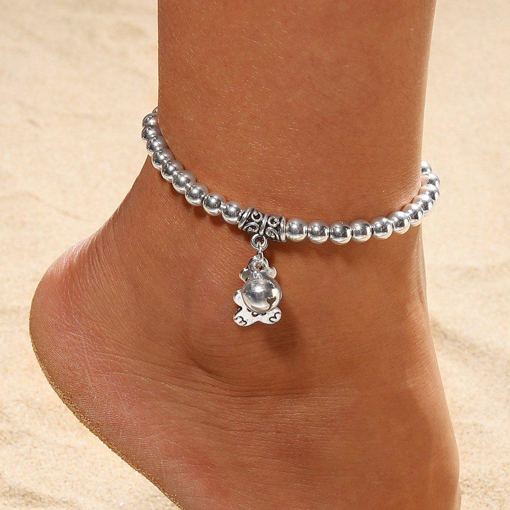 European and American Fashion Beaded Silver Plated Bell Anklet Foot Ornaments