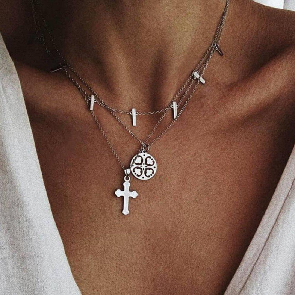 Affordable Multi Layer Boho Cross Necklaces Women Moon Fashion Pendant Vintage Necklace