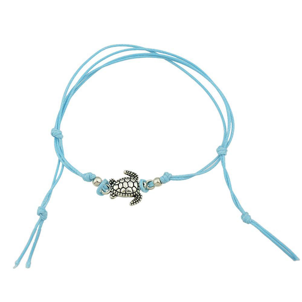 Cheap 1 pc Beige Black Blue Rope with Turtle Anklets