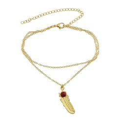 1 pc Gold Silver Color Chain Red Beads Feather Anklets -