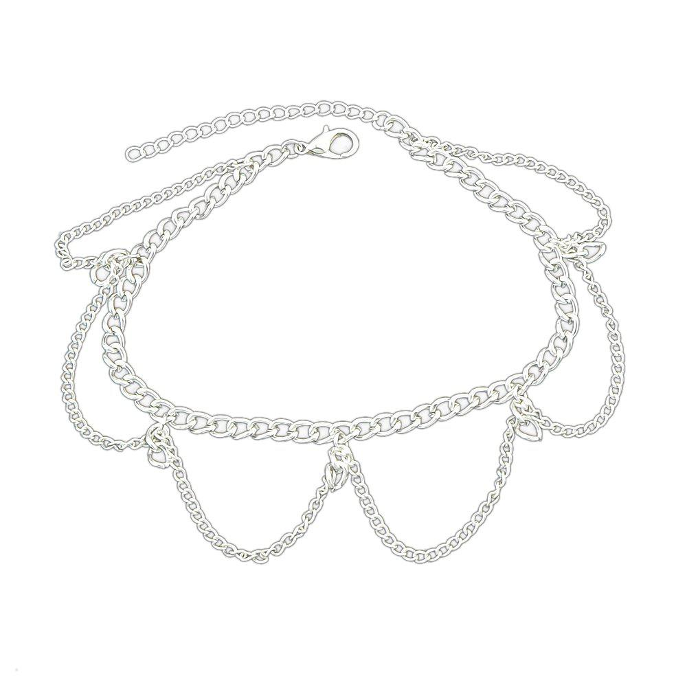 Online 1 pc Gold Silver Color Chain With Geometric Anklets