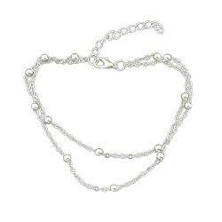 Two Layer Gold Silver Color Chain With Beads Anklets -