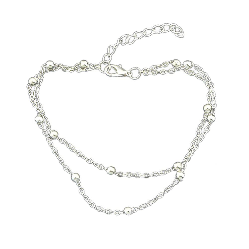 Hot Two Layer Gold Silver Color Chain With Beads Anklets