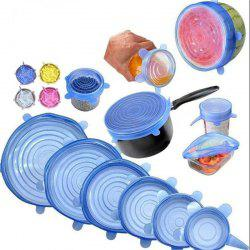 6PCS Reusable Silicone Stretch Lids Keep Fresh Food Kitchen Storage Wraps Cover -