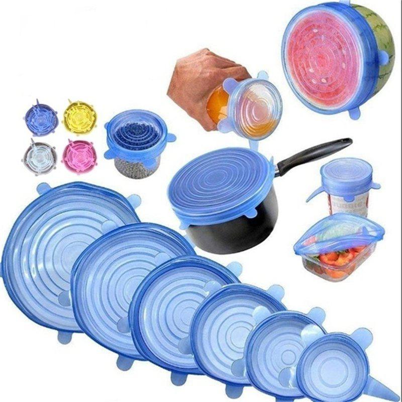 Best 6PCS Reusable Silicone Stretch Lids Keep Fresh Food Kitchen Storage Wraps Cover