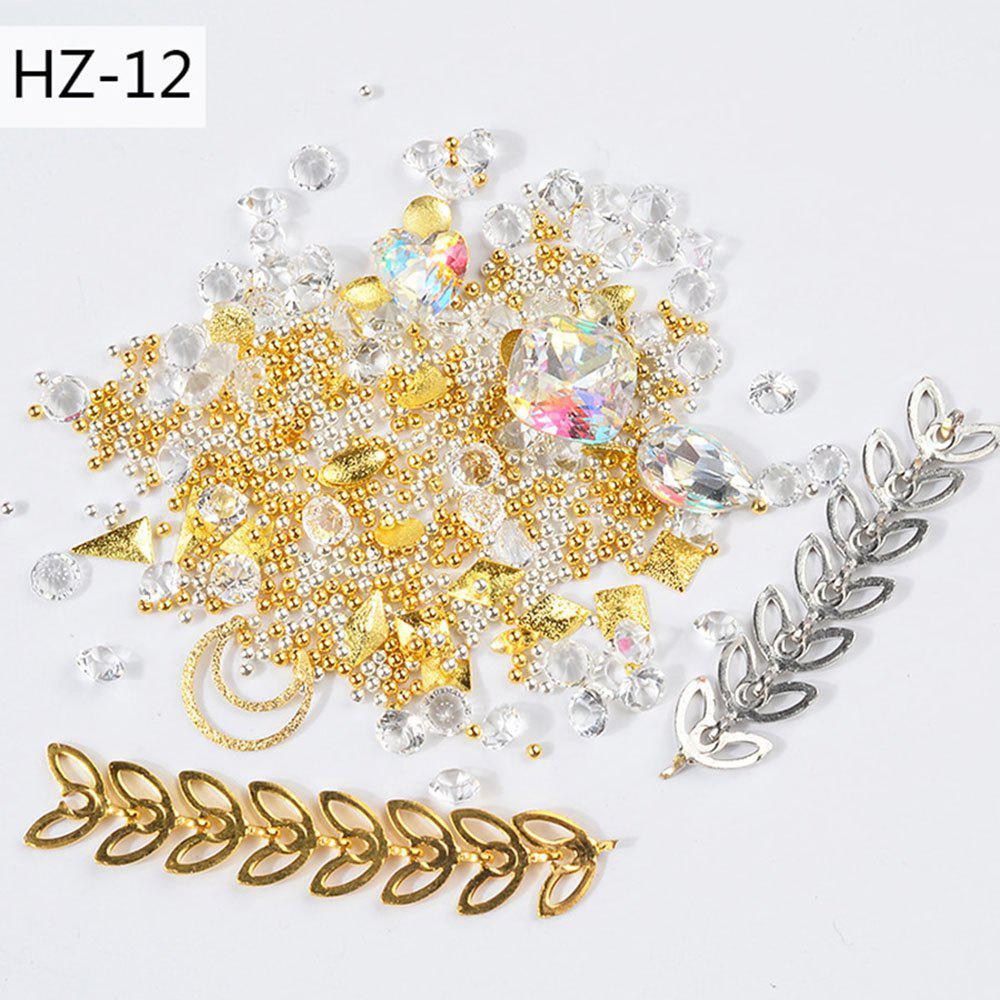 Hot New Nail Jewelry Transparent AB Rhinestone Zipper Gold and Silver Steel Ball