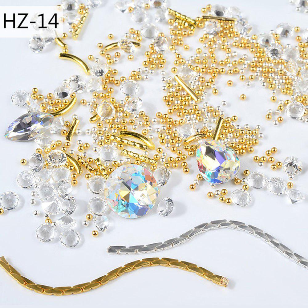 Shops New Nail Jewelry Transparent AB Rhinestone Zipper Gold and Silver Steel Ball