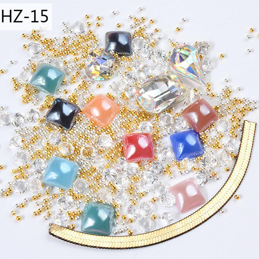 Chic New Nail Jewelry Transparent AB Rhinestone Zipper Gold and Silver Steel Ball