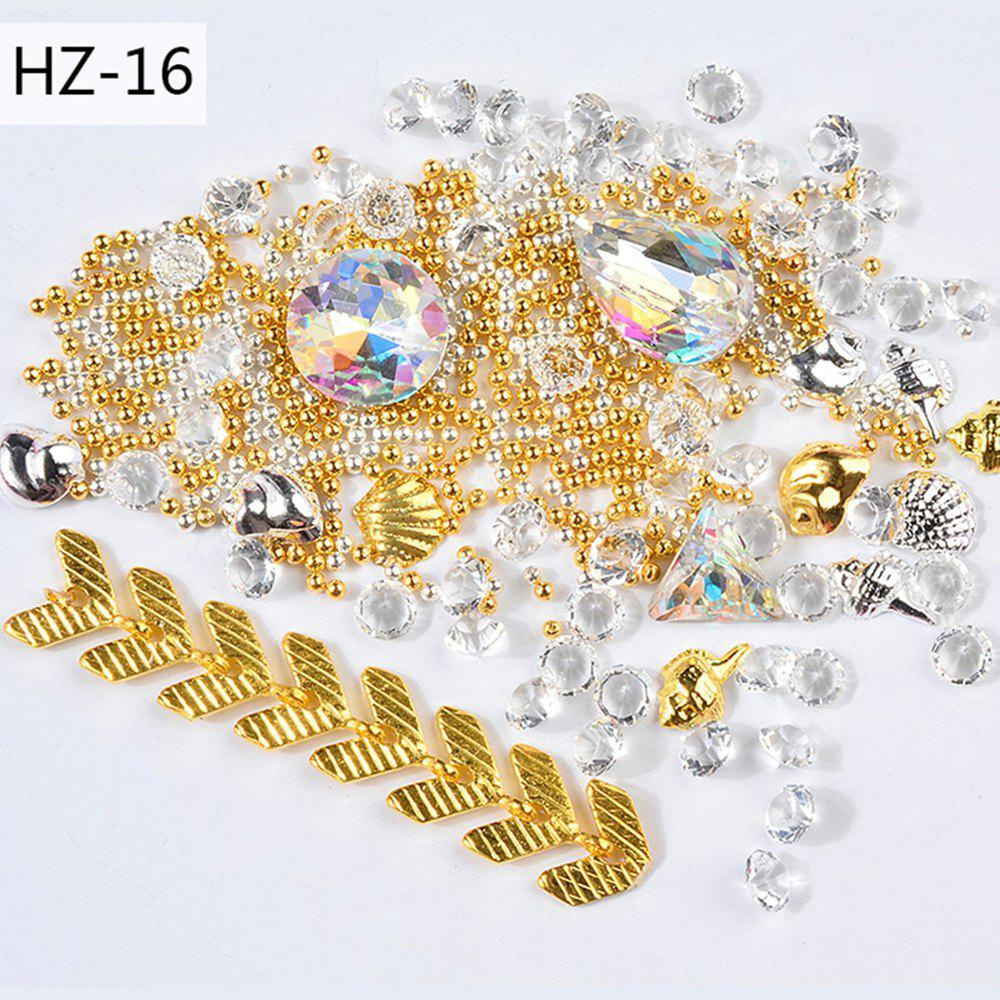 Store New Nail Jewelry Transparent AB Rhinestone Zipper Gold and Silver Steel Ball