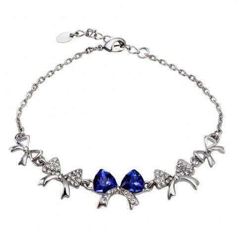 Silver Plated Tandem Bow Inlaid with Zircon Inlaid Blue Crystal Bracelet