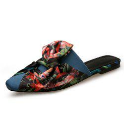 Satin Printed Bow Baotou Flat with Female Slippers -
