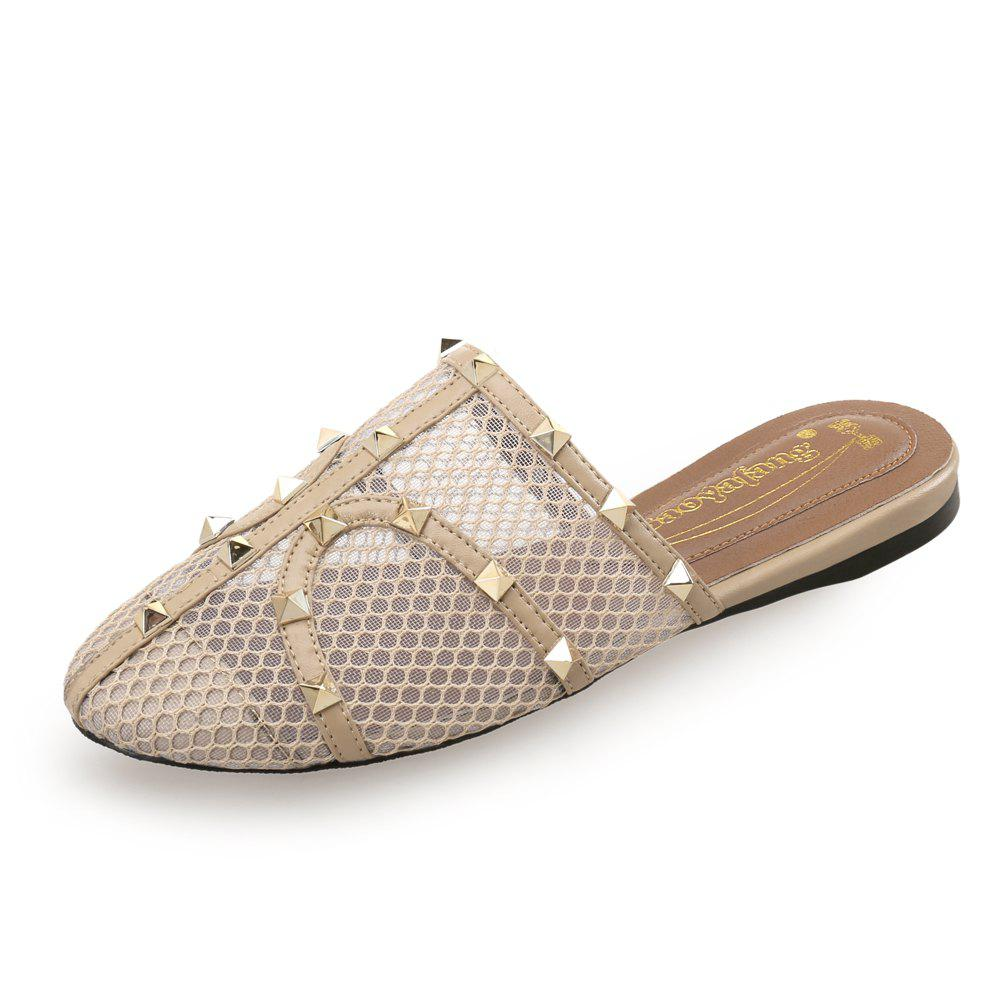 Fancy Baotou Mesh Rivet Comfortable Flat Sandals and Slippers