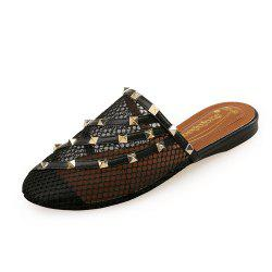 Baotou Comfortable Flat Shoes Rivets Wear Personality Female Slippers -