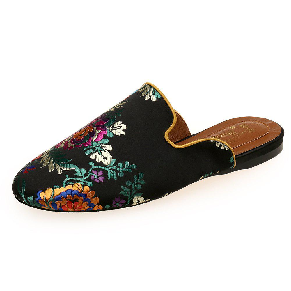 Sale Printed Satin Comfortable Flat with Chinese Style Female Slippers