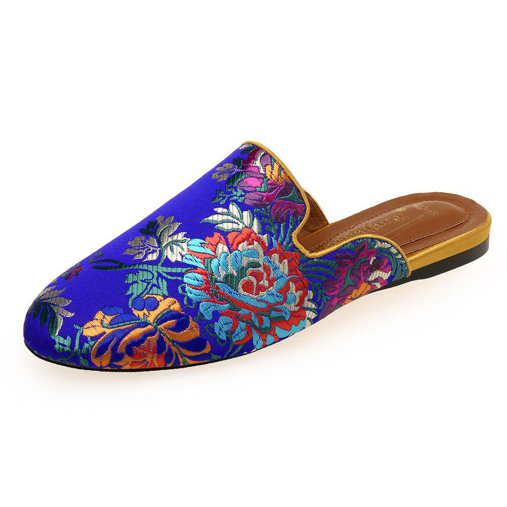 Discount Printed Satin Comfortable Flat with Chinese Style Female Slippers