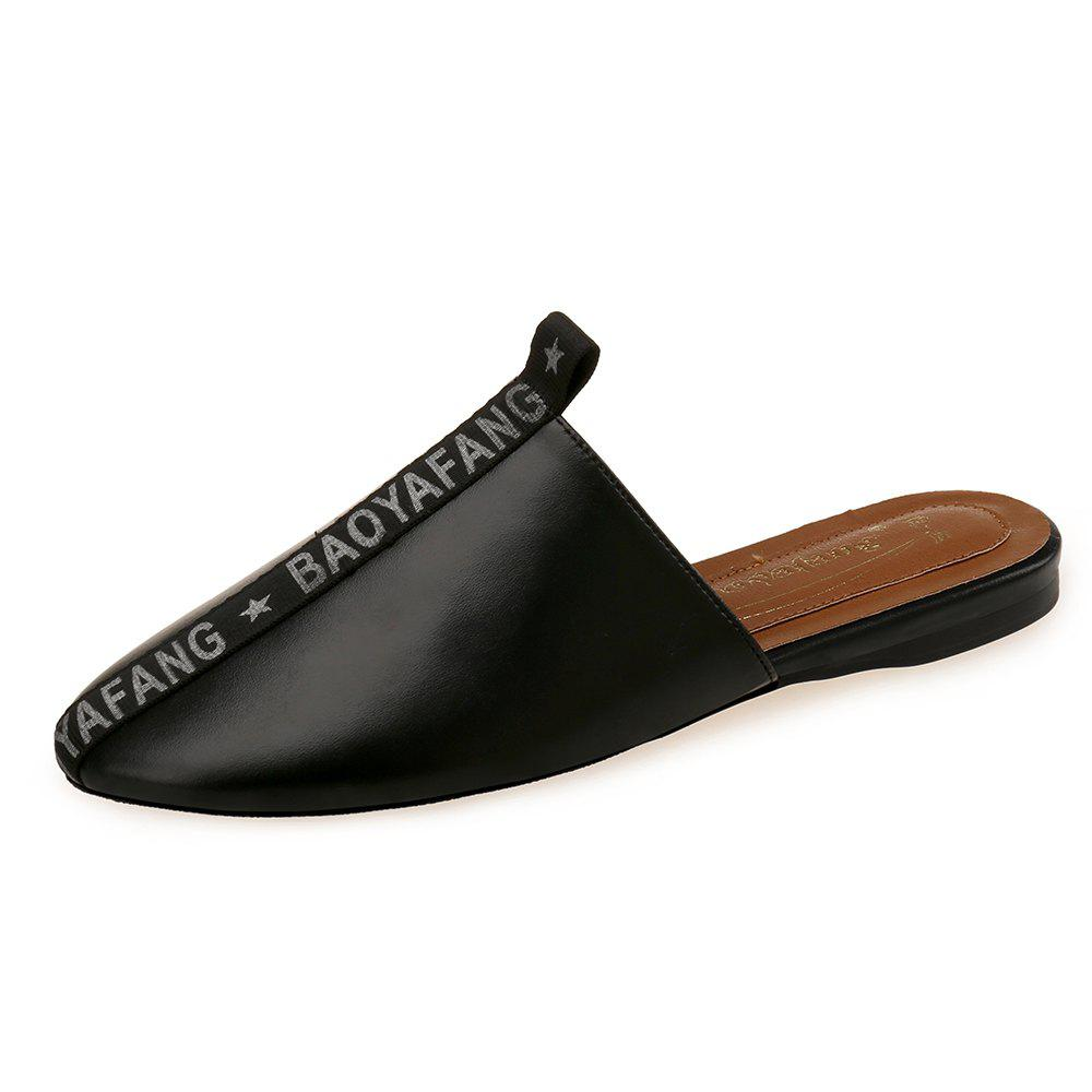 Shops Baotou Flat with Simple Comfort Letter Lazy Slippers