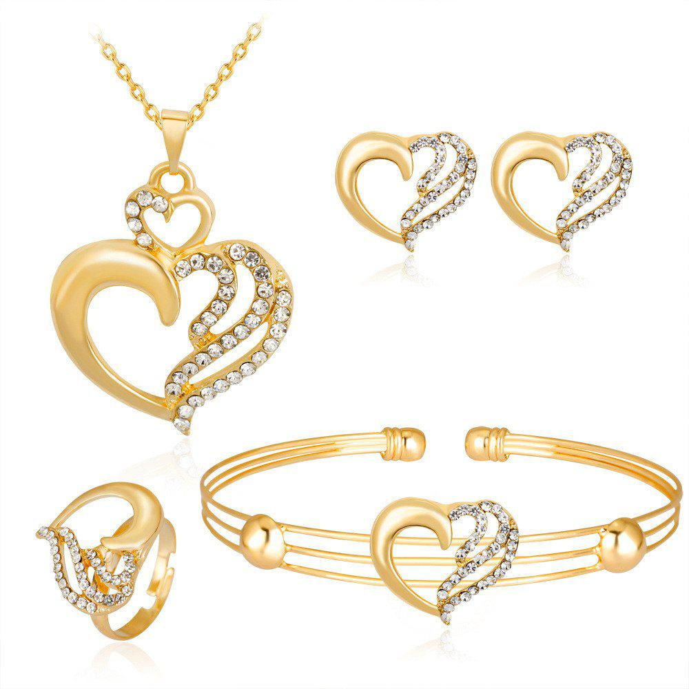 Unique Exquisite Lovely Alloy Set with Diamond Heart Hollow Jewelry Set