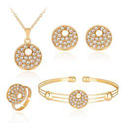 Exquisite Temperament Alloy Set with Diamond Hollow Circular Jewelry Set -