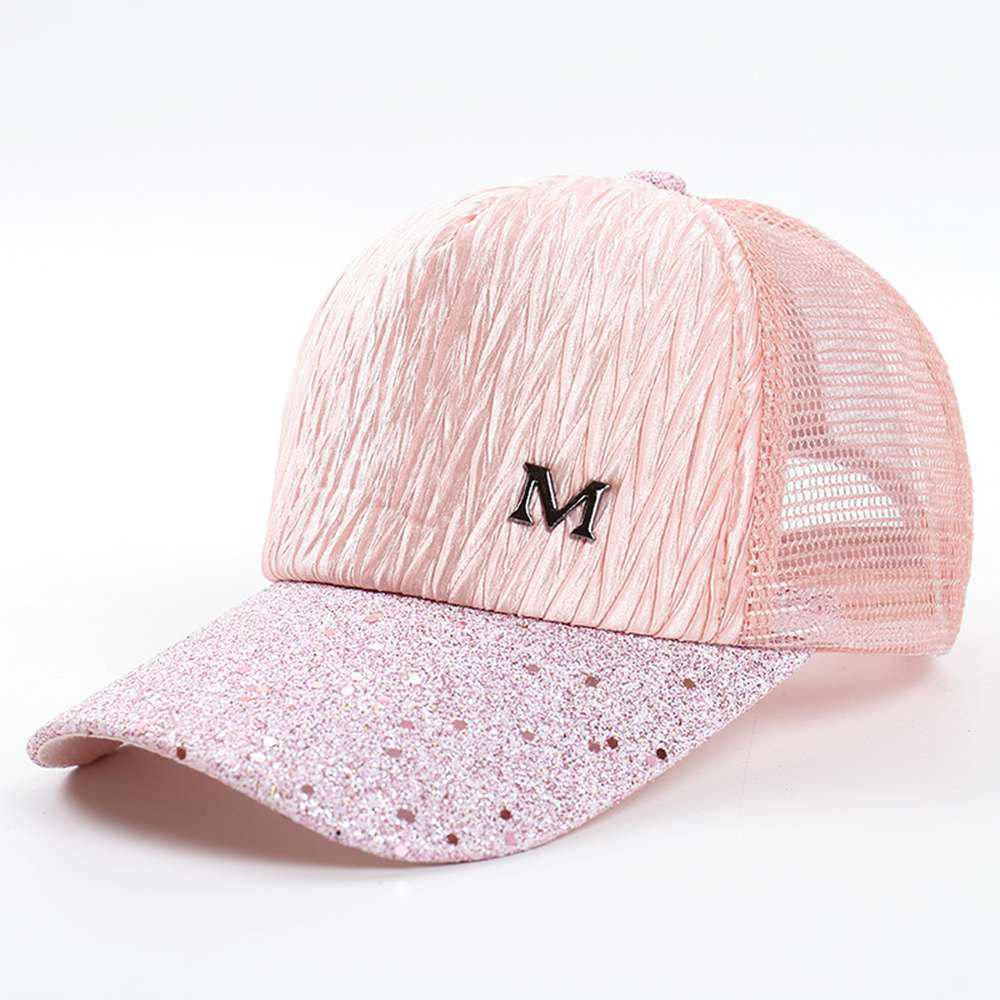 a5b7e23a332 Outfits Women Pleated M Letter Adjustable Baseball Cap