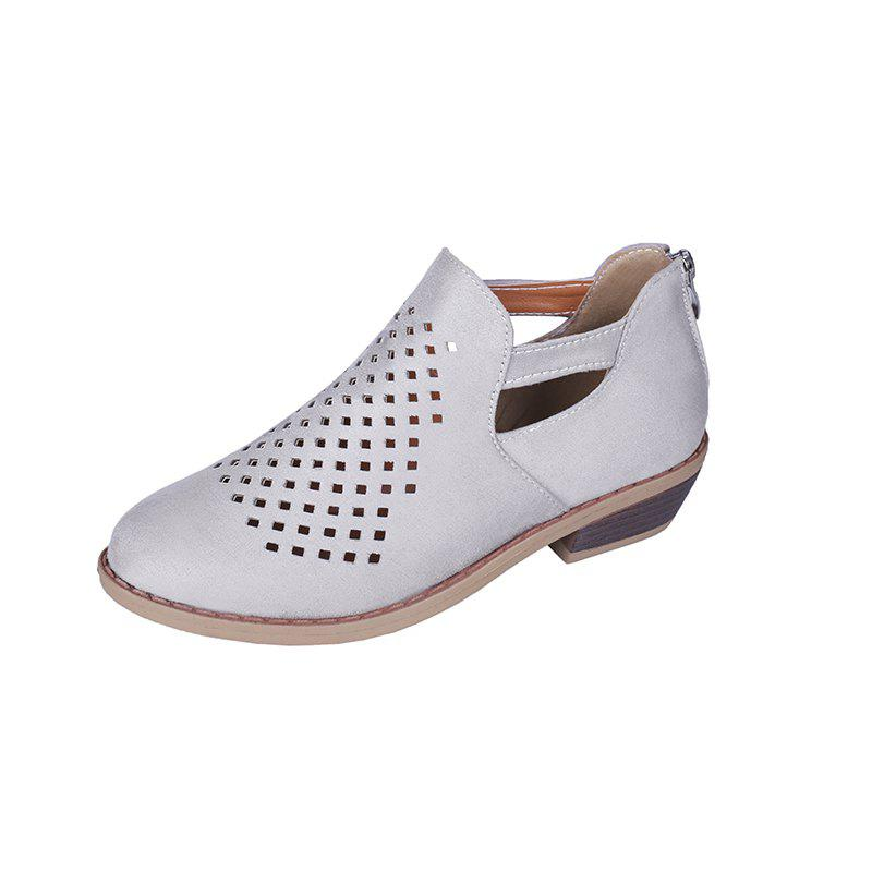 Trendy Back Zipper Breathable Pointed Casual Womens Shoes