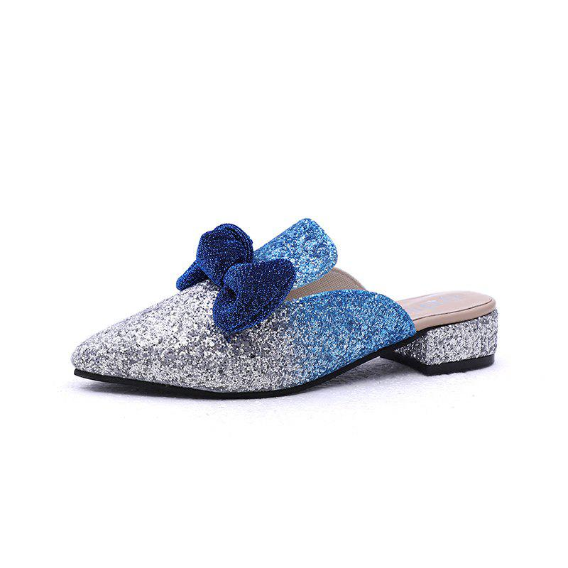 Trendy Comfortable Pointed Butterfly Knot Flat Soled Slippers