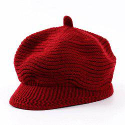 Women Fashion Knit Sunshade Octagonal Striped Beret -