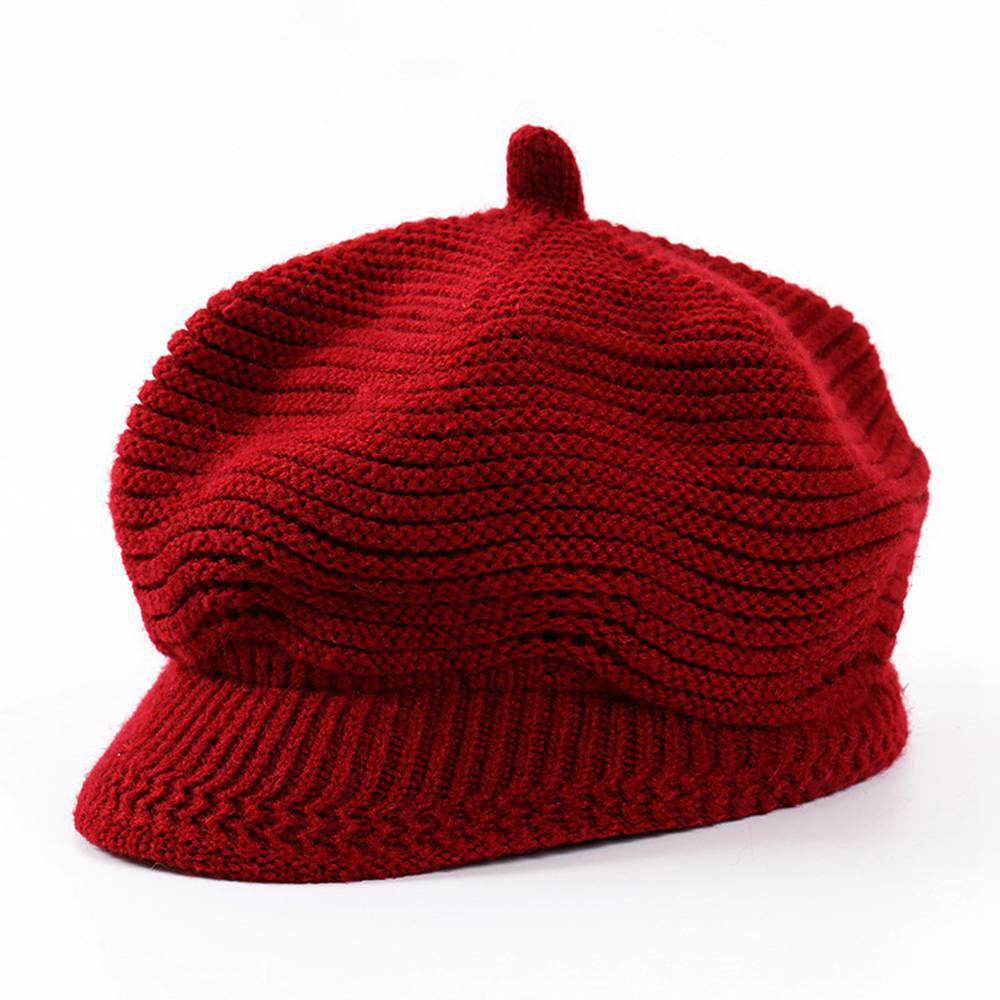 Shop Women Fashion Knit Sunshade Octagonal Striped Beret