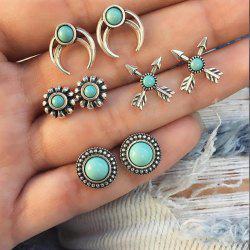 Bohemian Retro Crescent Arrow Flower Totem Pine Stud Earrings 4 Pairs of Women -