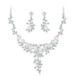 High Class Wedding Banquet Pearl and Diamond Jewelry Set -