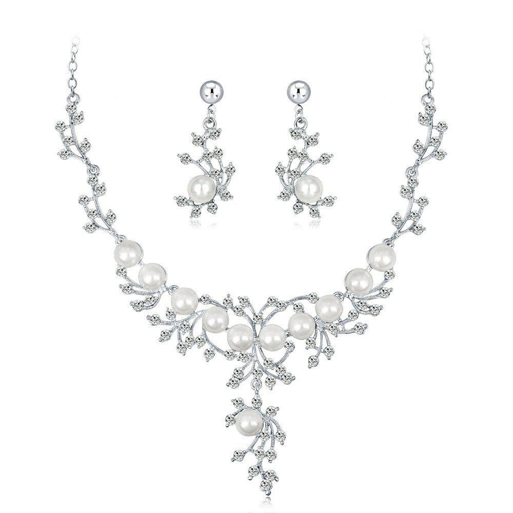 Discount High Class Wedding Banquet Pearl and Diamond Jewelry Set
