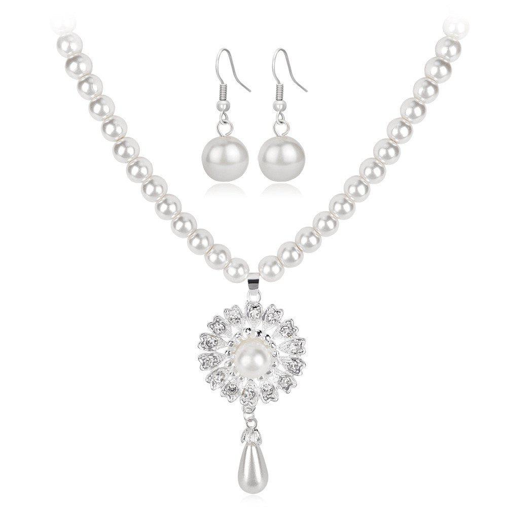 Outfit Temperament Sunflower Pearl Wedding Party Jewelry Set