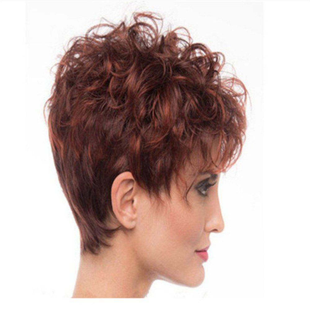 Affordable Wine Red Gradient Small Roll Shape Hot Wig Set