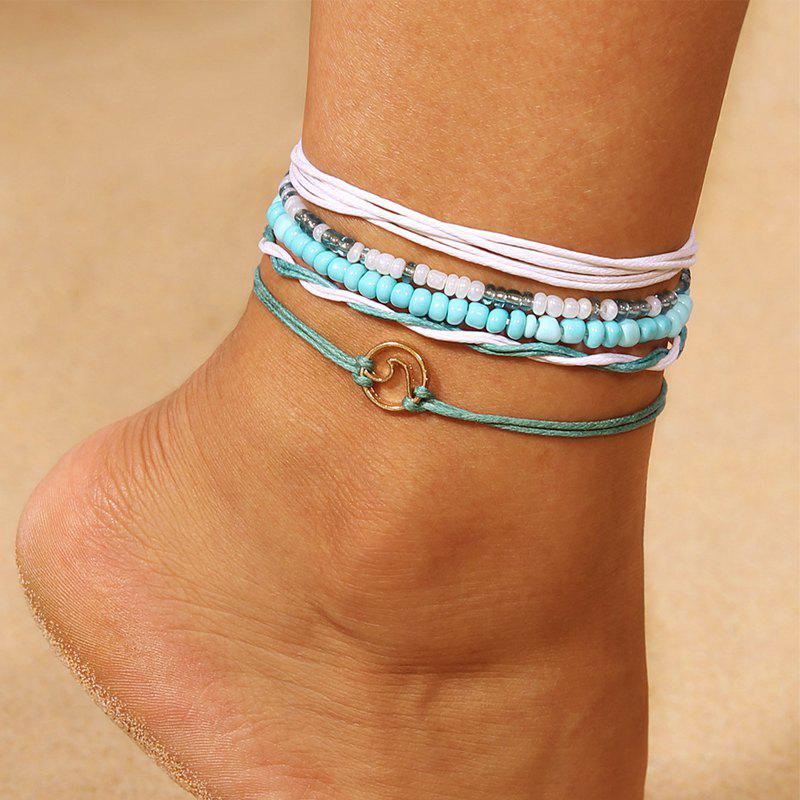 Fresh and Simple Wavy Beads Anklets Set