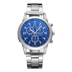 GENEVA Colorful Blue Glass Steel Belt Watch -