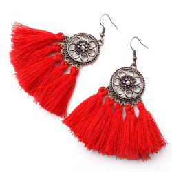 Floral Circle Long Fringed Earrings in Alloy -