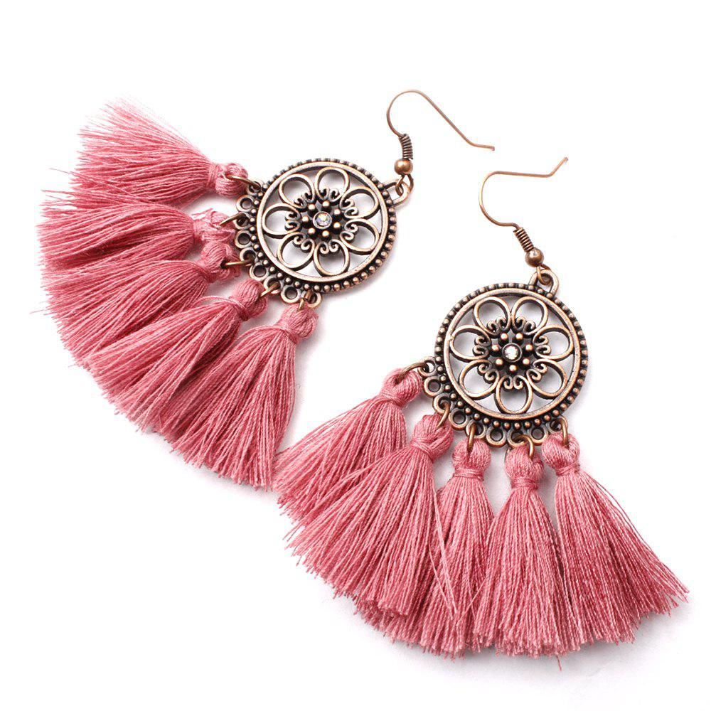Cheap Floral Circle Long Fringed Earrings in Alloy