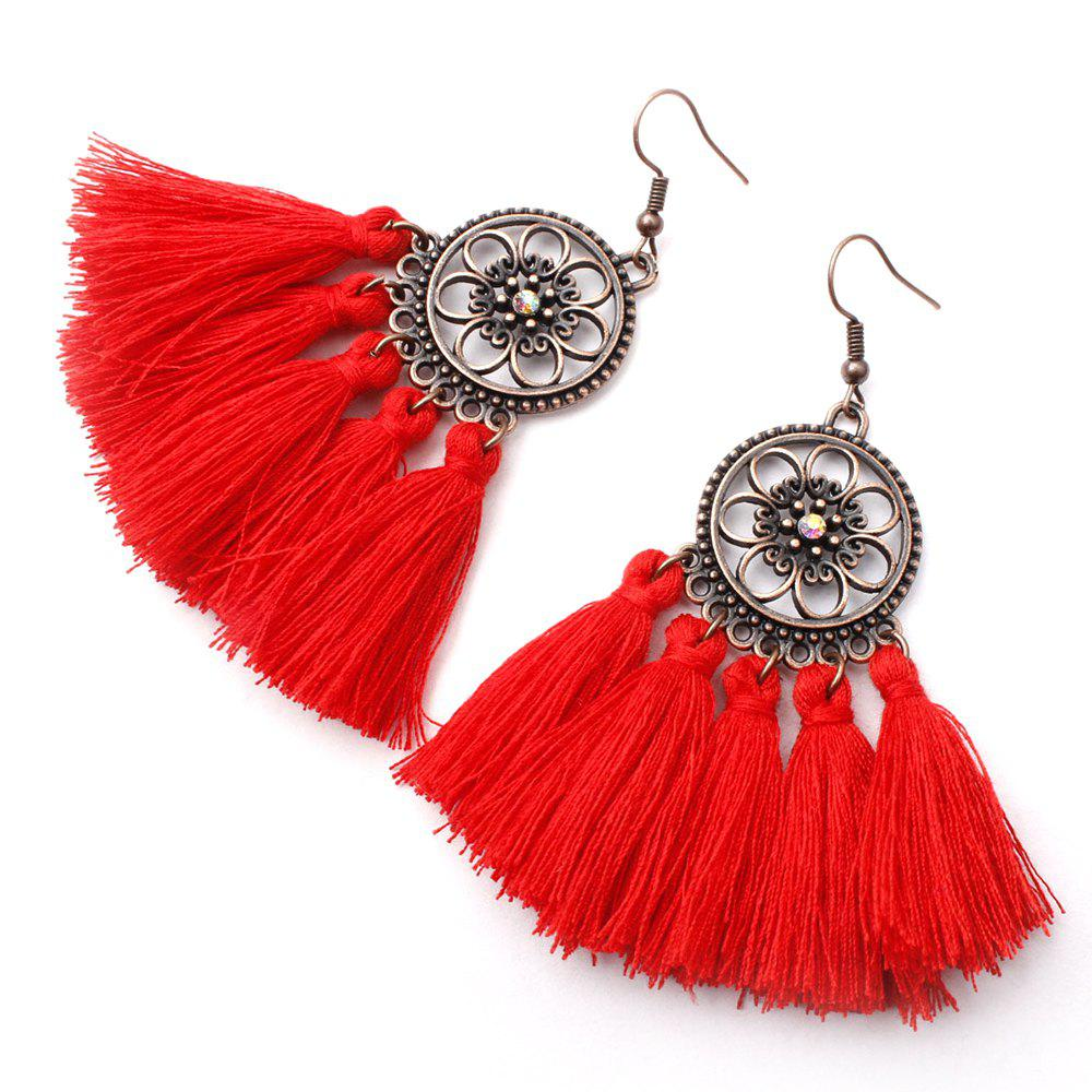 Online Floral Circle Long Fringed Earrings in Alloy