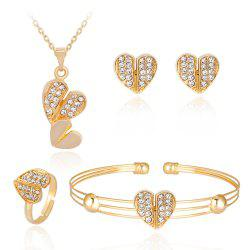 Lovely Alloy Diamond Set with Dual Heart Jewelry Set -