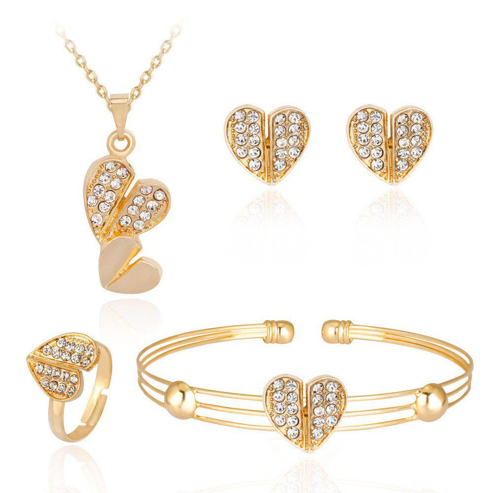 Buy Lovely Alloy Diamond Set with Dual Heart Jewelry Set