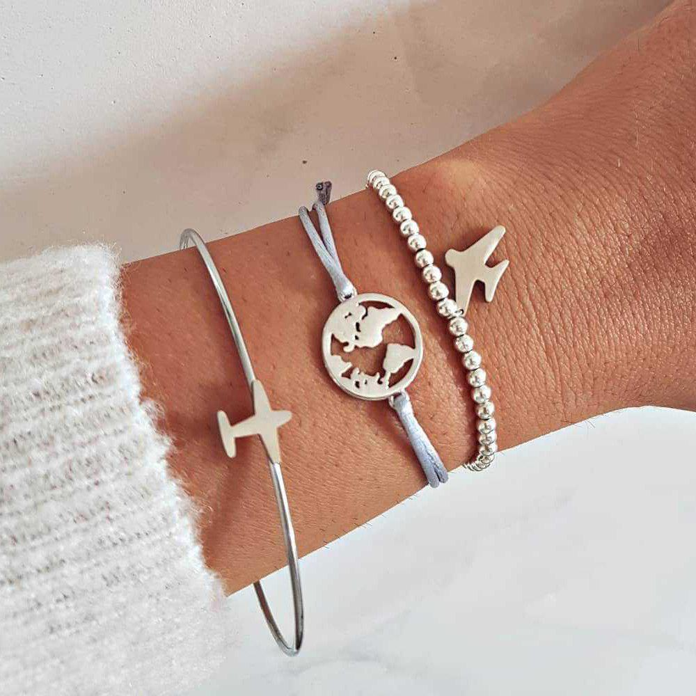 3 Pieces Fashion Personality Sweet Girl Airplane World Map Bracelets