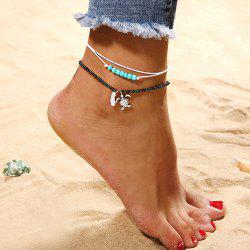 2 Pieces Beaded Turtle Multi-Layered Anklets -