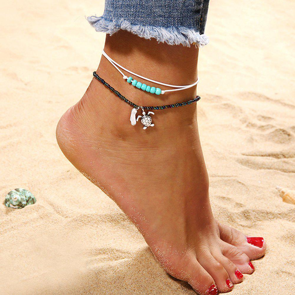 2 Pieces Beaded Turtle Multi-Layered Anklets