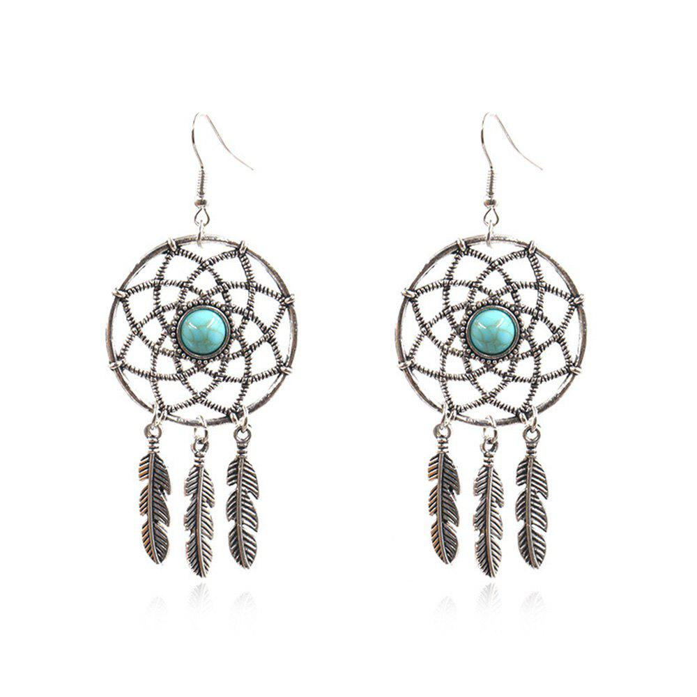 Affordable New Geometric Round Long Alloy Leaf Pendant Earrings
