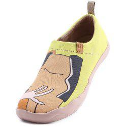 UIN Femmes Kiss Painted Canvas Slip-On Chaussures de voyage Casual Jaune -