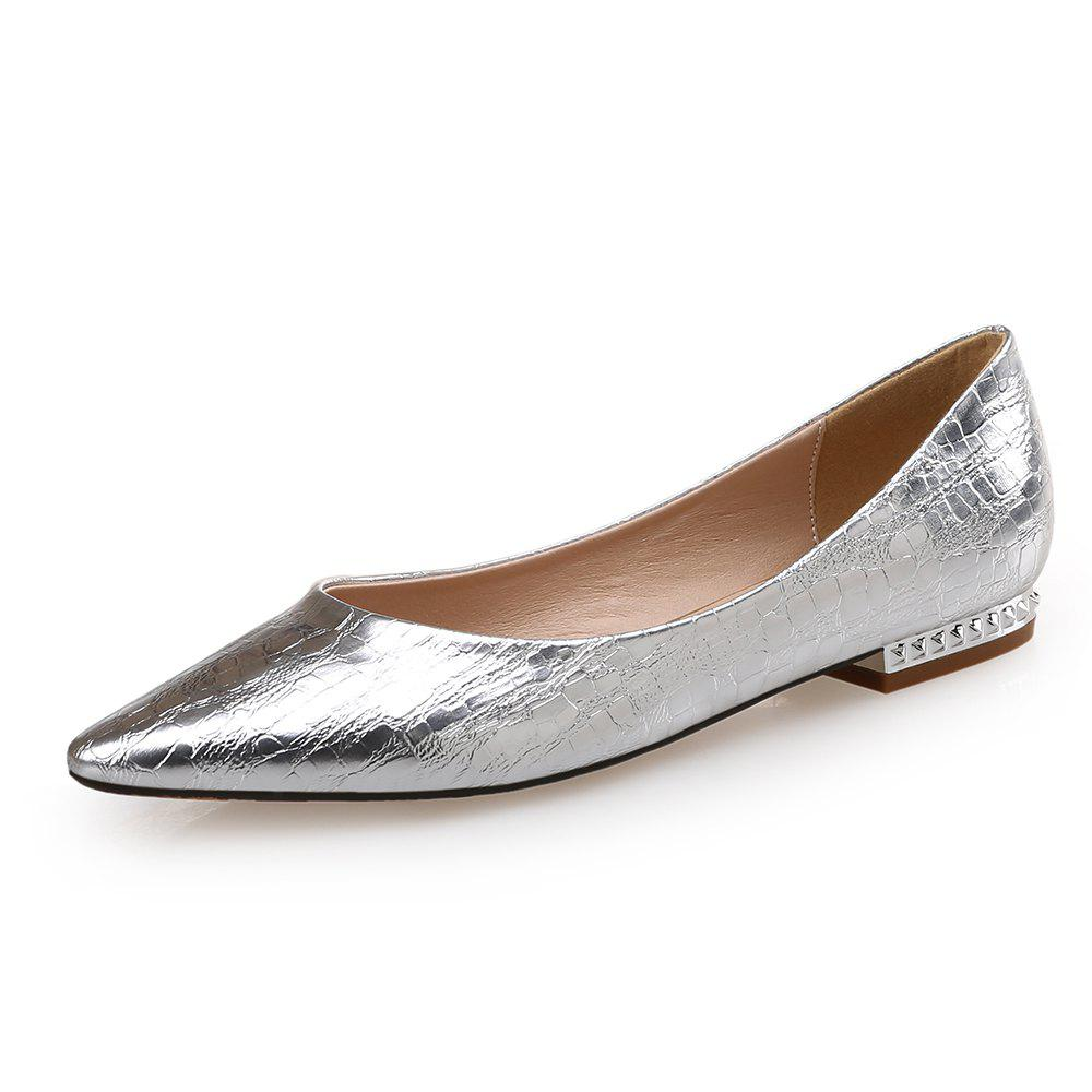f05c42d5c39 Fancy Pointed Shallow Mouth Flat Shoes Wild Silver Flat with Single Shoes  Female Ladie