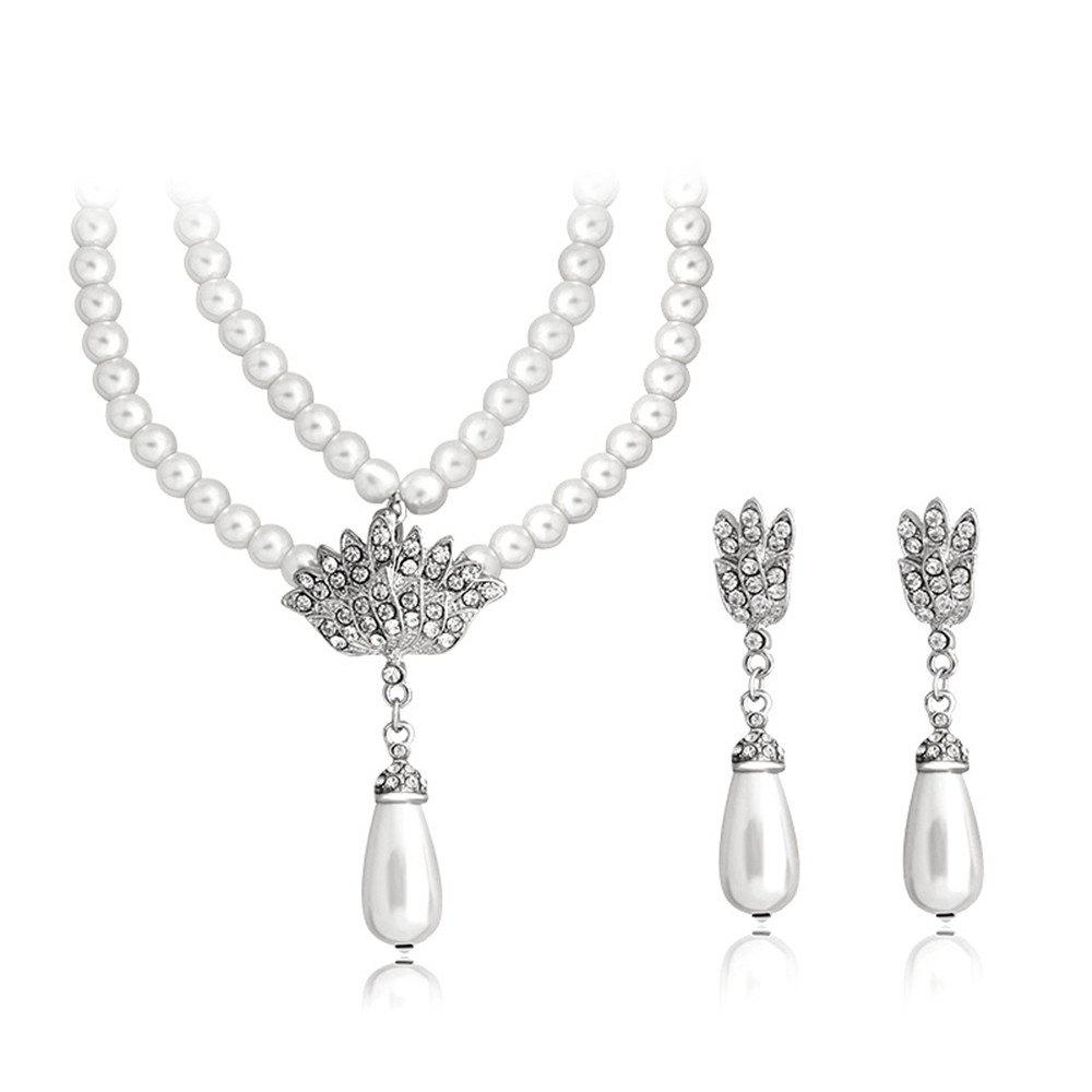 Cheap Noble Temperament Wedding Banquet Pearl Pendant Jewelry Set