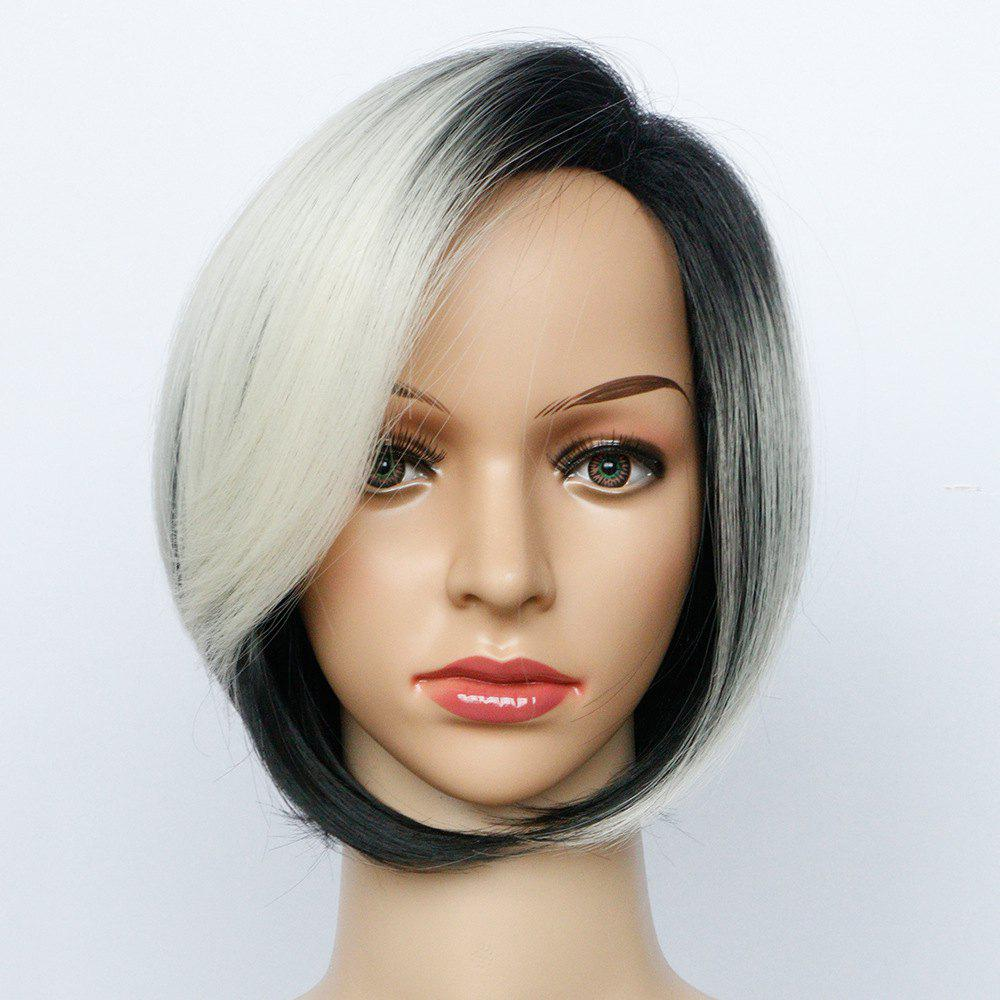Black Gradient Dyed White Hair Short Curly Hair Synthetic Wig